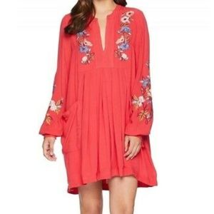 Free People Shift Foral Embroidered Red Dress